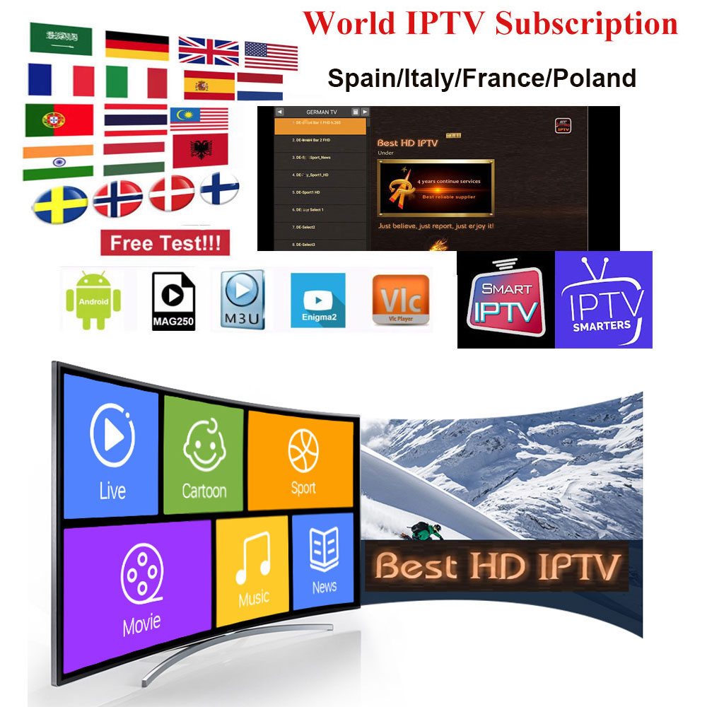 1 Year Iptv Italy M3U Subscription Spain Poland France Live TV HD Movies Sports For Android Smart TV Box  IPTV Smarters Enigma2