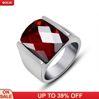 benmingnian red garnet ring titanium steel male tail ring Jane offered
