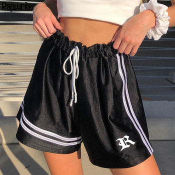 цена на Rapwriter Drawstring Letter Striped Shorts Women Streetwear Bodycon High Waist Shorts 2020 Summer Skinny Black Shorts Feminino