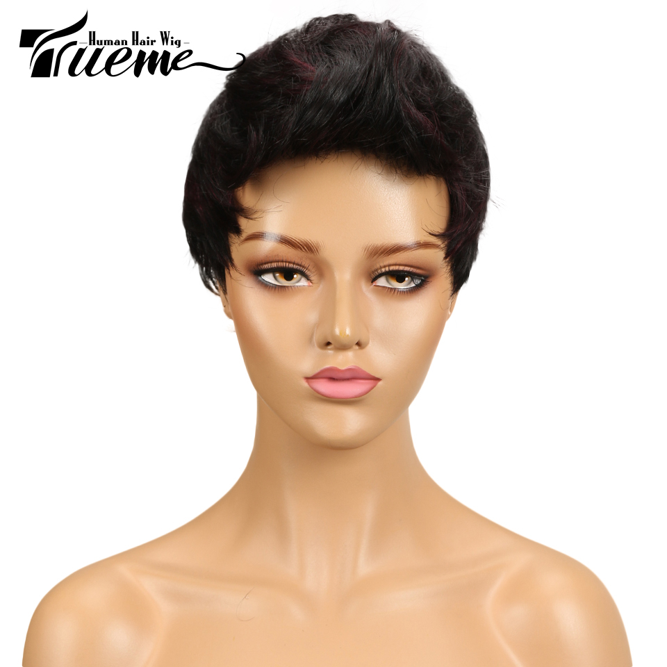 Trueme Curly Pixie Cut Wigs For Women Brown Color Short Human Hair Wigs Brazilian Wavy Wave Short Hair Full Wigs