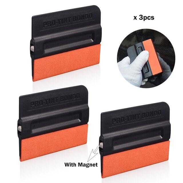 FOSHIO 3 sztuk Vinyl oklejanie samochodów folia z włókna węglowego skrobak magnetyczny folia zaciemniająca okna Bondo bez zarysowań zamsz gumowa ściągaczka Wrap Tool