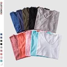 T-shirt manches courtes col en v pour homme, estival et décontracté, doux au toucher, 2020 coton solide, 5 pièces, 100%