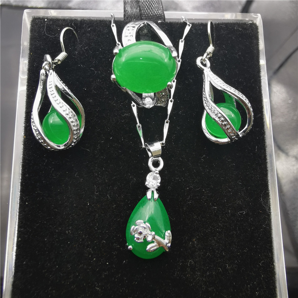 Jadery Vintage Stainless Steel Necklace/Earrings/Ring Jewelry Set Green Stone Chalcedony Women jewellery Gifts Black Friday 2019