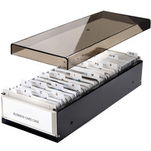 MyLifeUNIT 600 Cards Capacity Business Card Storage Box with A Z Index Business Card File Organizer with Removable Divider