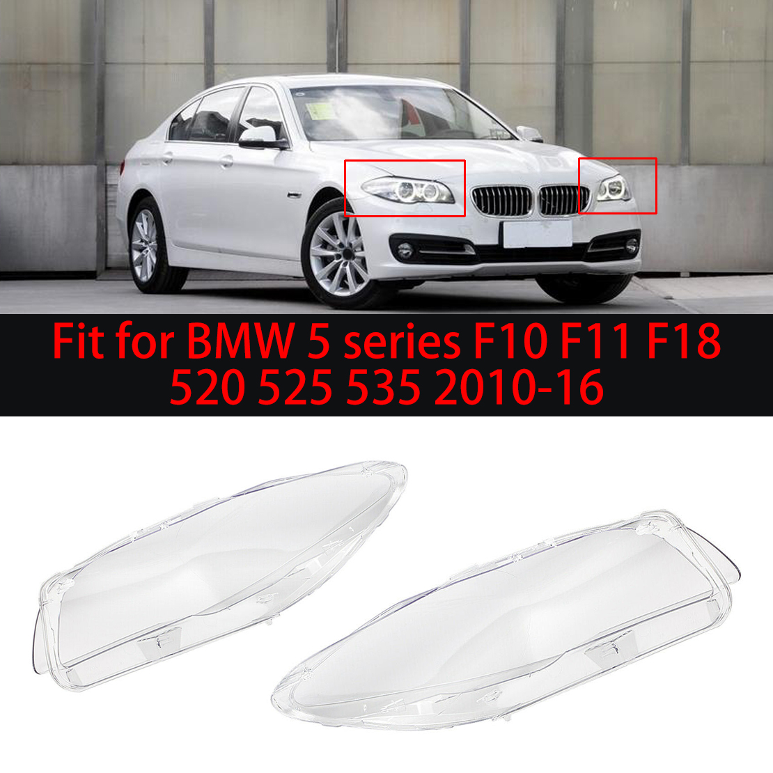 Car Headlight Glass Lampshade Front Lamp Covers Headlamp Lens Fit For BMW F10 LCI F18 528i 530i 535i 2010-2014 Color : Left Car Headlight Lampshade
