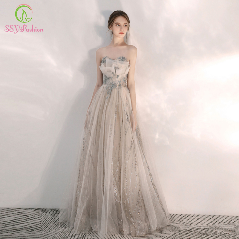 SSYFashion New Sexy Strapless Evening Dress Banquet Elegant Light Champagne Sequins Appliques Long Prom Formal Gown Vestidos
