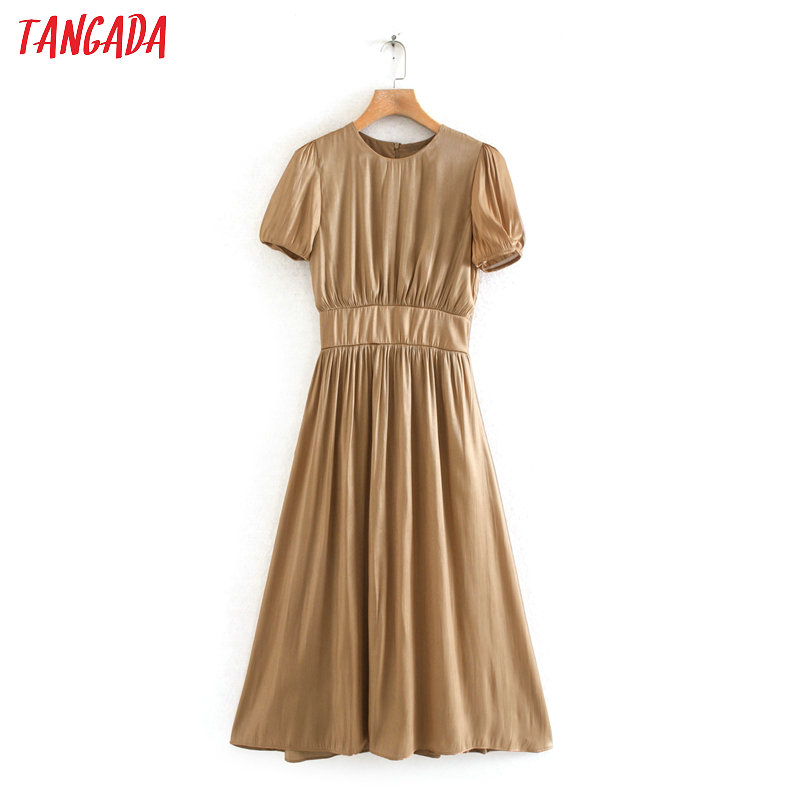 Tangada Fashion Women Solid Khaki Summer Dress Short Sleeve Back Zipper Ladies Work Midi Dress Vestidos 2W09