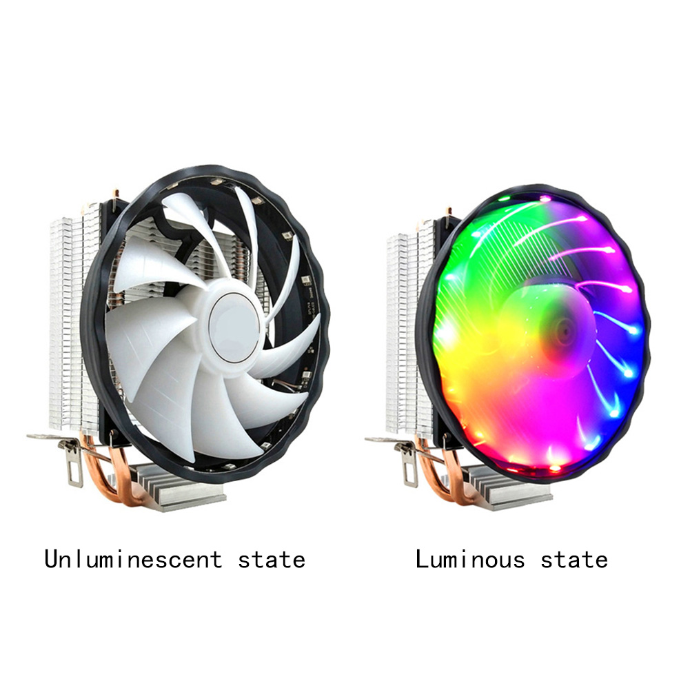 Durable 12V <font><b>RGB</b></font> Fan Led <font><b>CPU</b></font> <font><b>Cooler</b></font>  3 Pin 2 Heatpipes Desktop Computer Silent Cooling Radiator Copper For LGA 1155/<font><b>1151</b></font> AMD image