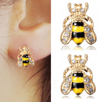 Crystal Earrings women Trendy Jewelry Gold Color Bee Earring with white Zircon Enamel Rhinestone Bumble Bee Animal Ear Stud new image