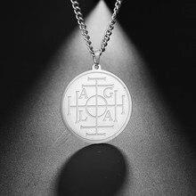 Roda da Fortuna Dawapara Proteção Selo AGLA Salomão Cabala Amuleto Pingente de Colar Dos Homens