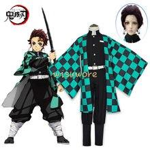 Anime Demon Slayer Cosplay Kimetsu Geen Yaiba Tanjiro Kamado Anime Cosplay Halloween Cosplay Kostuum Kostuums Kimetsu Geen Yaiba Sets