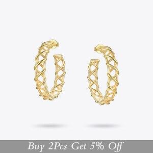 Image 2 - ENFASHION creux boucles doreilles pour femmes couleur or armure grand cercle cerceaux boucles doreilles mode bijoux en gros Pendientes E191138