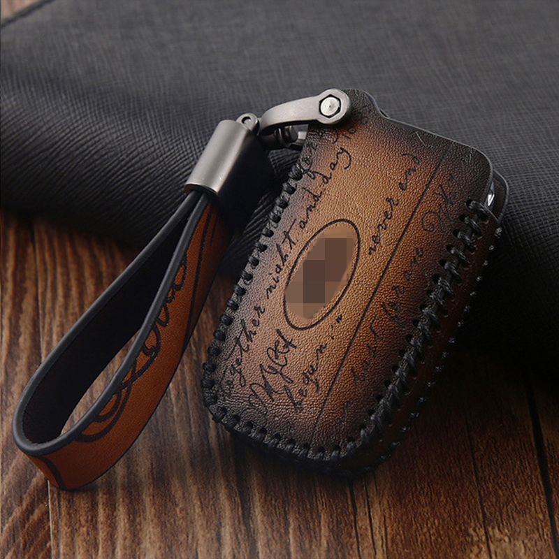 Genuine Leather Car Auto Remote Car Key Shell Case Protector Cover for Land Rover  Discovery Range Rover Sport 4 Evoque
