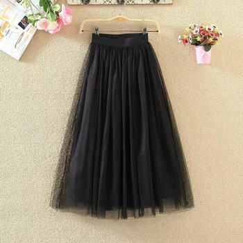 Womens Pleated Tulle Mesh Elastic High Waist Casual A-Line Long Skirts юбка женская  ropa mujer skirts womens юбки женские 3