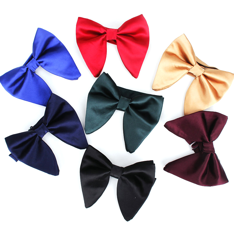Men's Fashion Suits Bow Tie Women Classic Big Bowtie For Man Wedding Bowknot Adult Mens Bowties Cravats Uniform Solid Black Tie