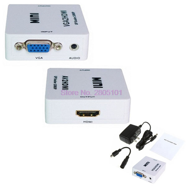 Box-Up Video-Converter Audio Mini Vga To Hdmi White 200pieces 1080P SCAER Or EMS DHL