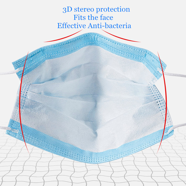 50 Pcs DustProof Anti-Flu Medical Face Mask Surgical Protective Mask Disposable 3 Ply Ear-loop Safety Dentist Mouth Mask 3