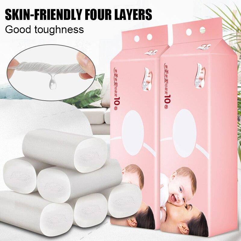 10 Rolls Toilet Paper Bulk Bath Bathroom Tissue White 4 Ply Skin-Friendly Household TT@88
