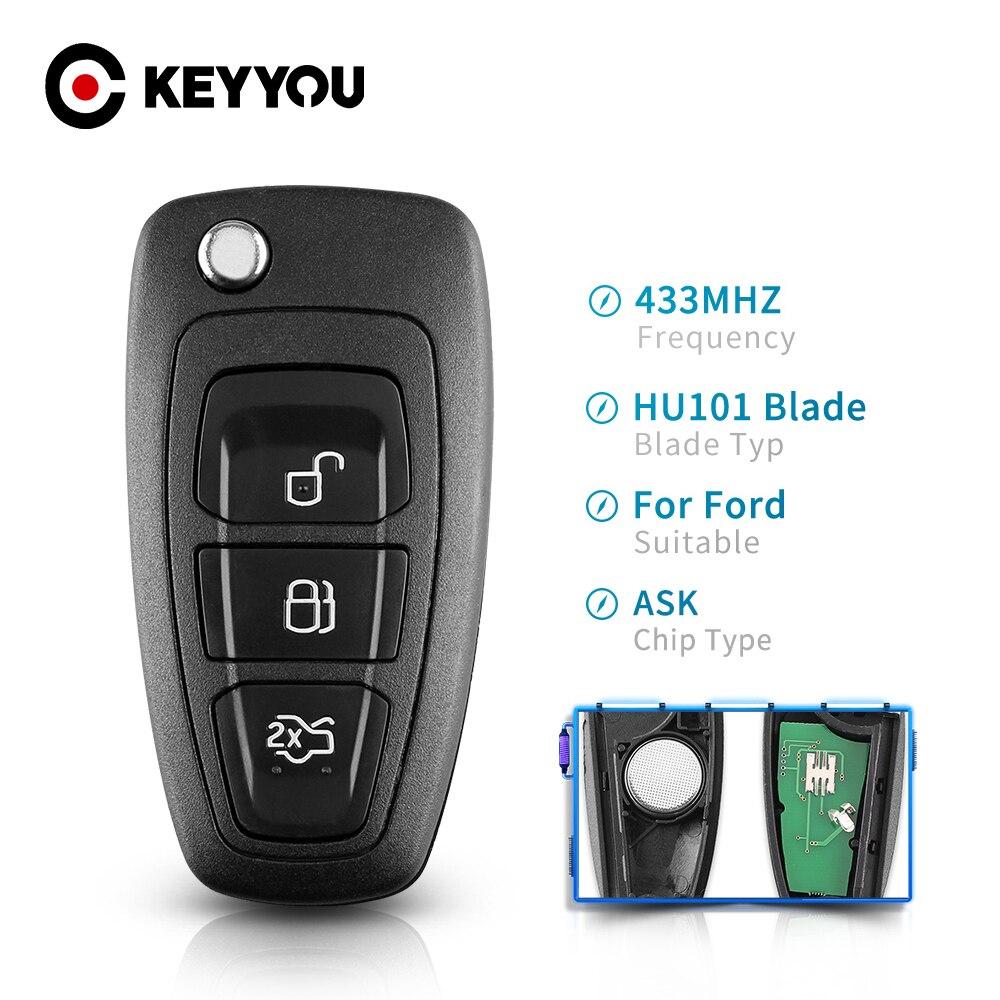 Запасной складной пульт дистанционного управления с 3 кнопками для Ford Focus Fiesta 2013 Чехол-брелок с лезвием HU101 433 МГц ASK