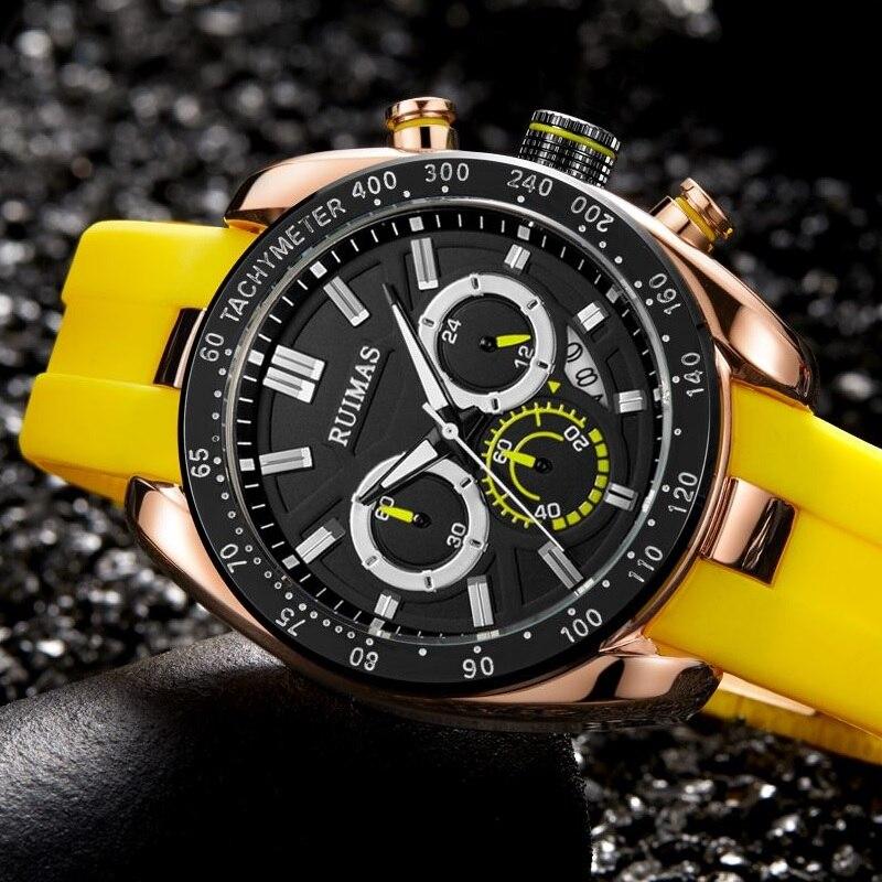 RUIMAS Mens Watches Top Brand Luxury Man Military Sport Wristwatch Chronograph Quartz Watch Male Erkek Saat Silicone Strap Relog