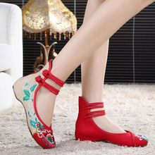 Chinese Shoes Women Embroidery Mary Jane Fabric Flats Traditional Embroidered Old Peking Flower Canvas Casual Square Heel(China)