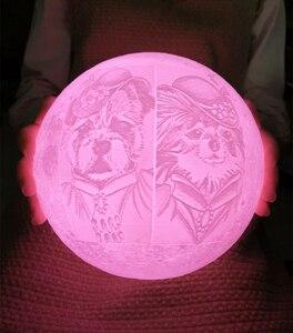 Image 3 - 写真/テキストカスタム 3D 印刷ムーンランプ夜の光カスタマイズされたパーソナライズされた月面 usb 充電式ランプタッチ/タップ/リモートスイッチ