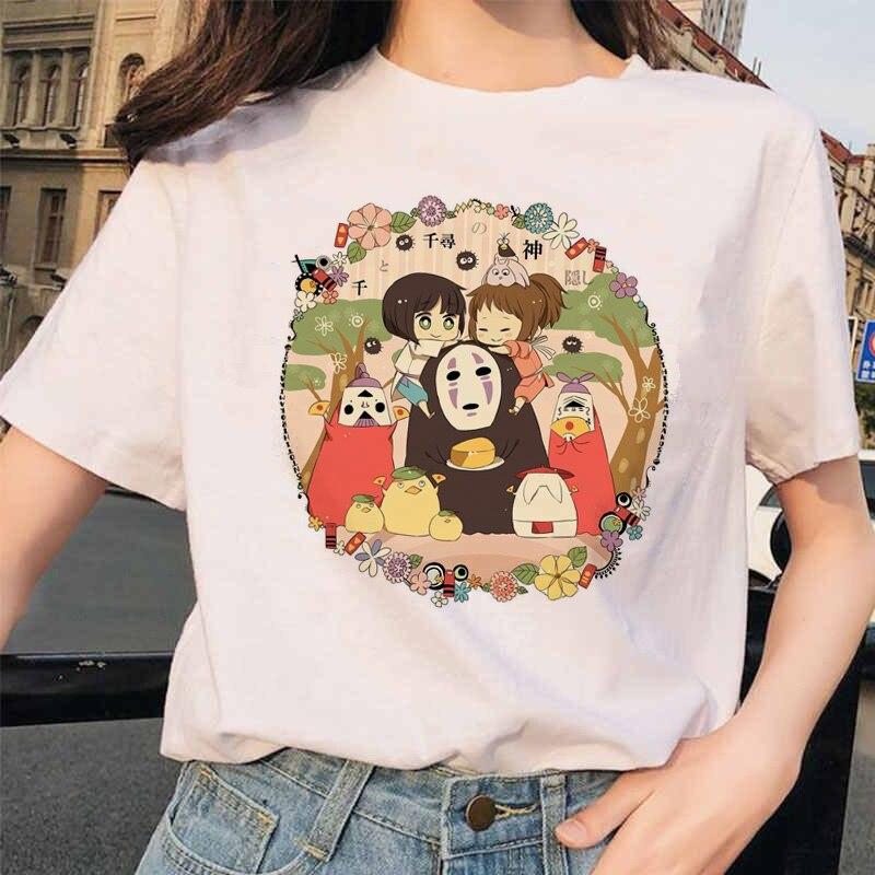 90s Harajuku Totoro Spirited Away Studio Ghibli Femme T Shirt Japanese Women Ulzzang Tshirt Anime Miyazaki Hayao Female T-shirt