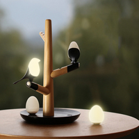 Magpie Bird USB Charger Night Light Intelligent Vibration Induction LED Desk Lamp Small Eggs LED Light Home Decor Novelty Gifts
