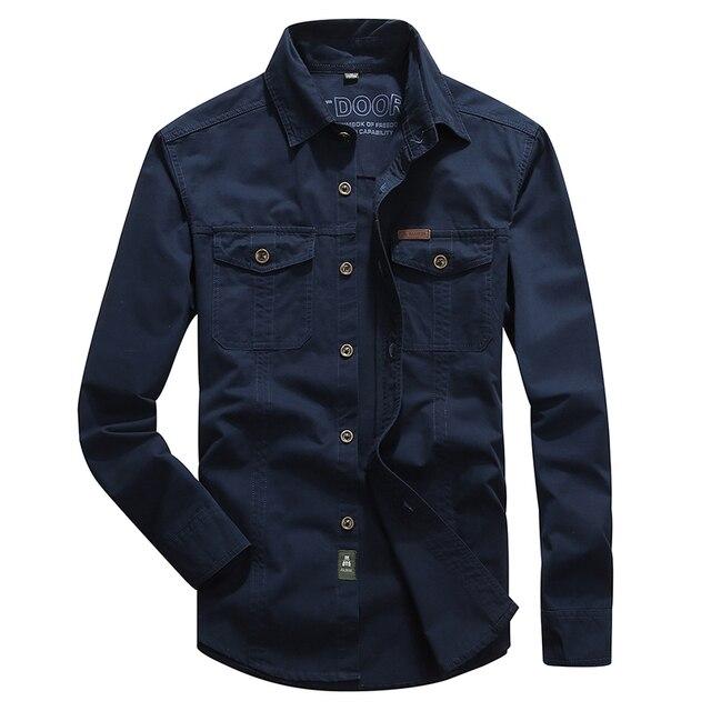 VINRUMIKA 2020 Plus größe M 5XL Herbst männer casual marke armee grün langarm shirt mann frühling 100% reine baumwolle khaki shirts