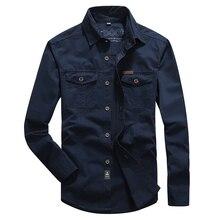 VINRUMIKA 2020 Plus size M 5XL Autumn mens casual brand army green long sleeve shirt man spring 100% pure cotton khaki shirts