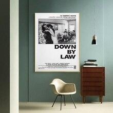 Cartel de película Vintage en blanco y negro abajo por la ley cartel de lona impresión decoración del hogar imagen sin marco