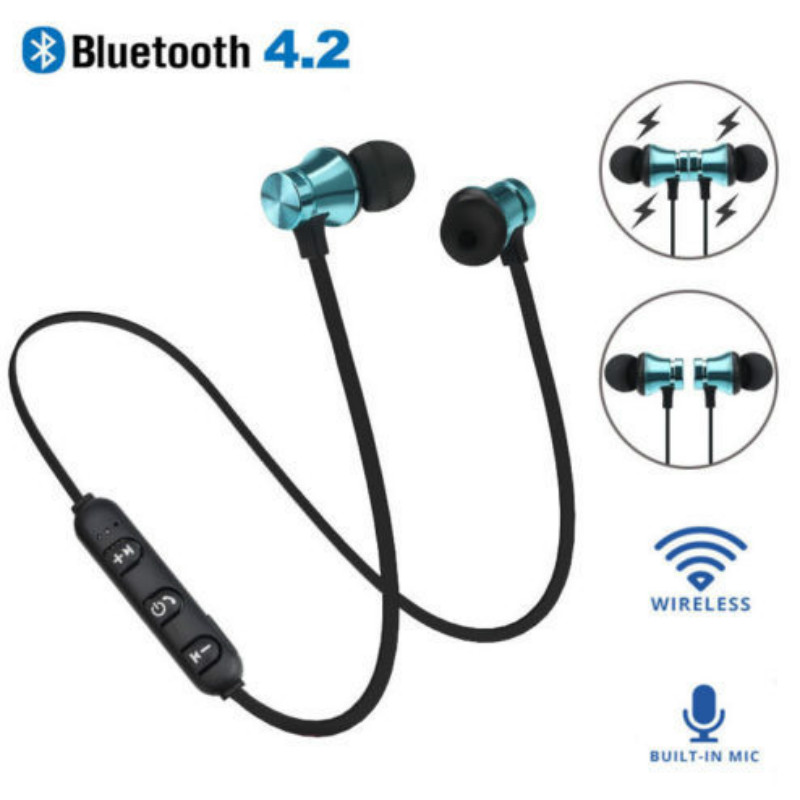 Bluetooth 4.2 Earphone Waterproof Sports Build-in Mic Magnetic Attraction Headset with Charging Cable Earphone for IPhone