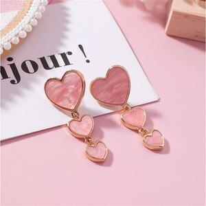 Acrylic Heart Women Dangle Earrings Long Metal Purple Pink And Gray Earrings For Women Party Wedding Jewelry