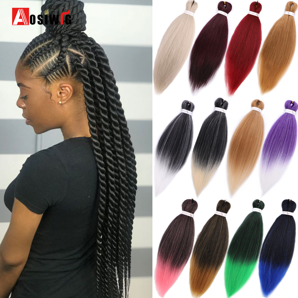 AOSIWIG Pink Blue Synthetic Braiding Hair 24Inch 100g Braiding Hair African Braiding Hair Style Crochet Hair Extensions