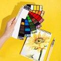 Улучшенный 18/25/33/42 Твердые акварельные краски в наборе с кисточек для рисования количество Ручка Складная Дорожная цвета воды для татуажа, п...
