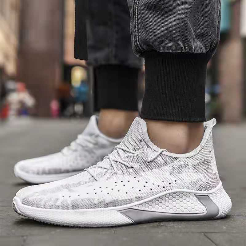 New Mens Casual Sneaker Fashion Shoes Men High Help Lace-Up Knit Breathable Walking Flats Walking Shoes Man  Zapatos De Hombre
