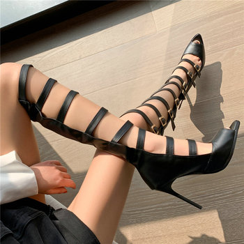 Thigh High Pumps Women Buckle Strappy Knee High Boots Female Peep Toe Slim High Heels Platform Gladiator Sandals Casual Shoes