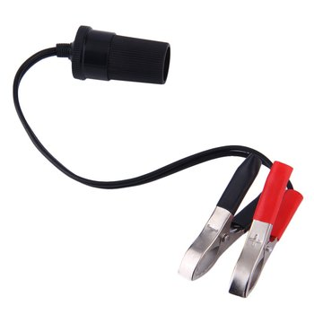 New 12 Volt Battery Terminal Clip-on Cigar Cigarette Lighter Power Socket Adapter Plug Car Boat Van For Camping image
