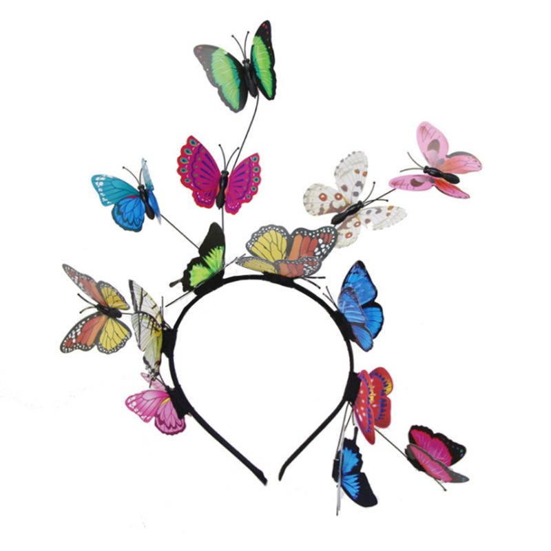 Women Girls Forest Fairy Fascinator Headband Colorful Flutter Butterflies Insect Wild Hair Hoop Woodland Photo Headpiece