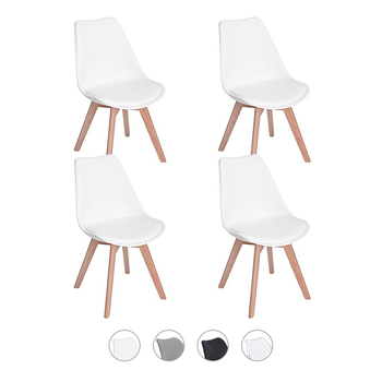 Набор из 4 обеденных стульев в стиле ретро, современный тюльпан, с цельными деревянными ножками из бука, Кухонное кресло, офисное кресло-белы...