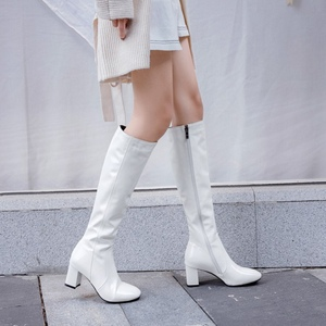 Image 3 - ORCHA LISA  Pattent leather knee high boots for women 6cm block heels red white  black lady winter leather shoes botte femme 45