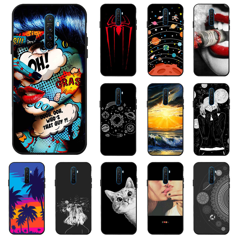 Case For Realme XT X2 5 Pro C2 Case 3D DIY Black Painted Cartoon Phone Cover For OPPO Reno A9 A5 2020 Covers Bumper Funda Capa image