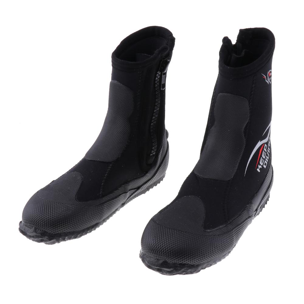 5mm Super Stretch Zippered Hard Sole High Upper Scuba Diving Water Sports Surfing Snorkeling Booties Wetsuit Boots XS -3XL