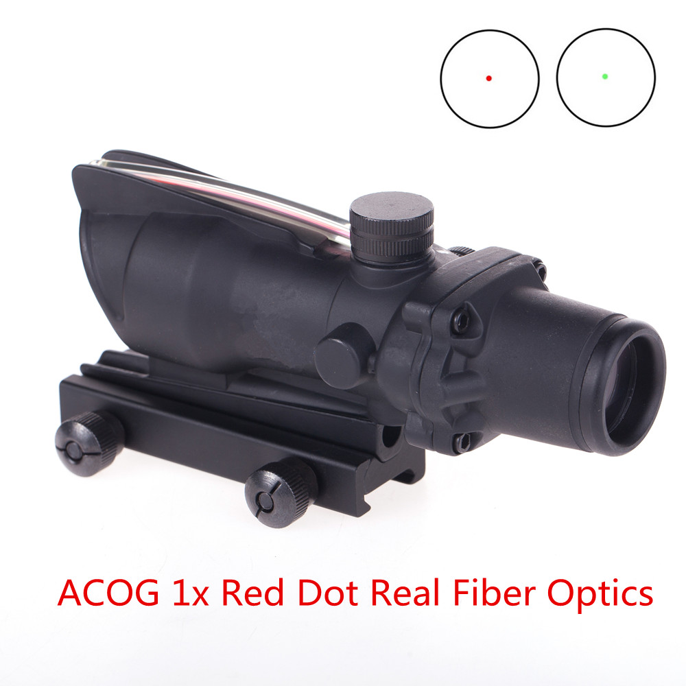 ACOG 1X32 Real Fiber Riflescope Optics Red Dot Scope Sights  Glass Etched Reticle Tactical Optical Sight