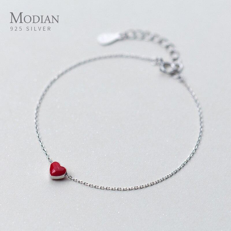 Modian 925 Sterling Silver Red Enamel Hearts Layers Chain Bracelet For Women Geometric Lobster Lock Bracelet Fashion Jewelry