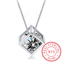 925 Sterling Silver Cube Zirconia Pendant Necklace For Women Gift 45cm Link Chain choker collares kolye S-N76