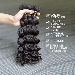 Image 2 - Rosabeauty extensiones de cabello 10A, 3 en oferta de extensiones de cabello Natural, pelo virgen indio suelto, paquete de ondas profundas, 100%, extensión de cabello humano de 10  28 pulgadas
