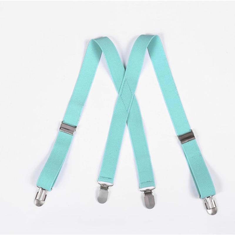 2.5cm Suspenders Children Boys Girls Elastic Braces X-Back Trousers Pants Holder Suspender Wedding Straps 4 Strong Metal Clips