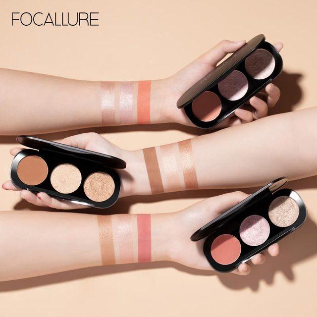 FOCALLURE colors Natural Blusher Professional Blush shimmer Highlighter bronzer Face contour long lasting blusher palette