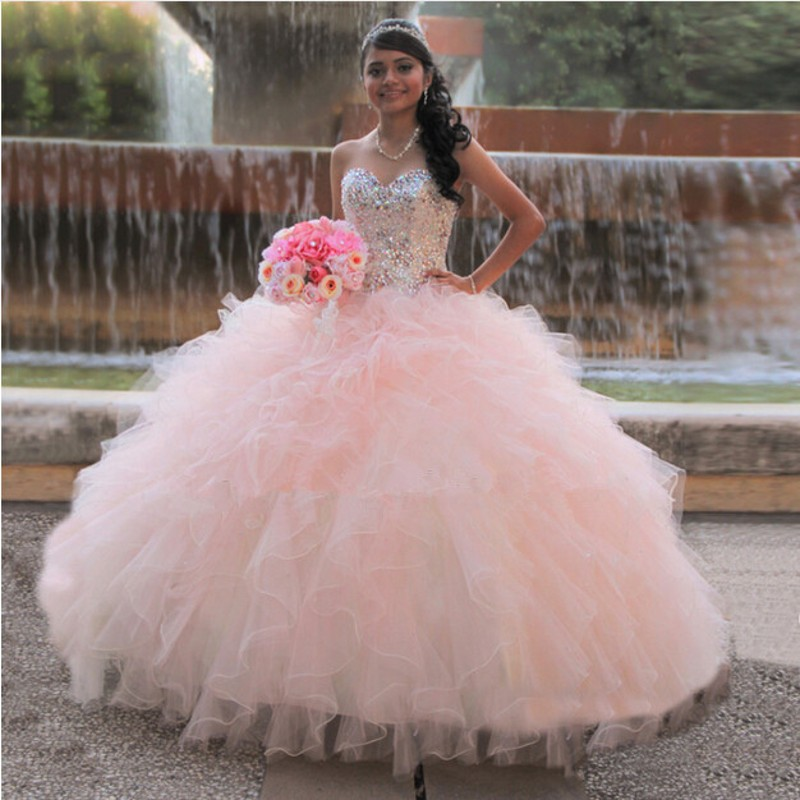 Sparkly Pink Quinceanera Dresses Sweetheart Crystals Ball Gown Ruffles Tulle Vestidos De 15 Anos in Quinceanera Dresses from Weddings Events